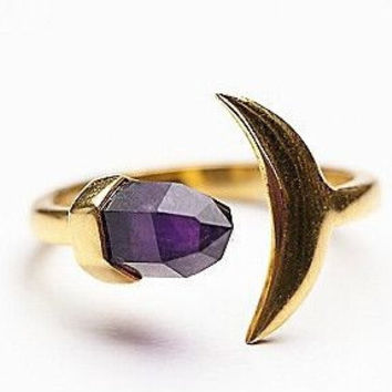 Deep Purple Amethyst Crystal  & 18k Gold Crescent Moon Ring