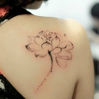 watercolor inked girls lotus flowers tattoo temporary