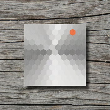 Grey white orange, industrial decor, modern geometric art print, honeycomb print, office decor, hexagon art, living room decor, dorm decor