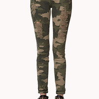 Destroyed Camo Skinny Jeans