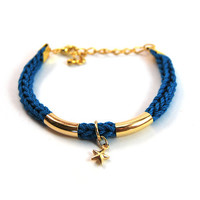 Bracelet with nautical star charm and gold bars, cotton cord bracelet, charm bracelet