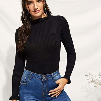 Frill Cuff Ribbed Skinny Sweater