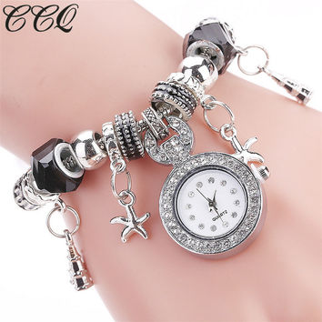 CCQ Top Brand Women Beaded Bracelet Watch Luxury Women Fashion Heart Band Dress Wristwatch Women Female Quartz Watches 2145