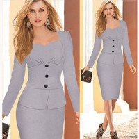 2014 new winter dresses elegant fashion full sleeve brand dress work midi wear formal party ladies clothing us quality standard