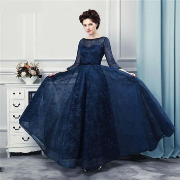 Navy Blue Long Prom Dresses Lace Floor Length 3/4 Long Sleeves Top Sheer Illussion Corset Prom Gown
