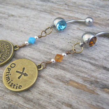 Sagittarius Belly Ring, BRONZE Zodiac Belly Button Jewelry, Personalized Piercing, Topaz Turquoise, November December, Astrology Navel Ring