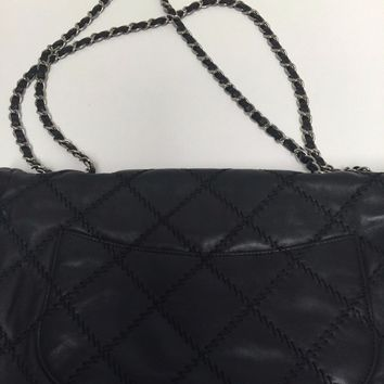 Chanel Black Quilted Caviar Jumbo Classic Flap Bag silver hardware