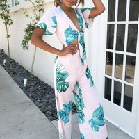 Palm Leaf Front Tie Jumpsuit