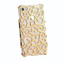 LliVEER Gold Electroplating Hollow Pattern Pc Case Hard Back Cover for Iphone 4s/4