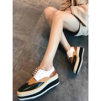 Prada new women's shoes color matching leather straw cakes thick-soled casual shoes Brock England wind shoes