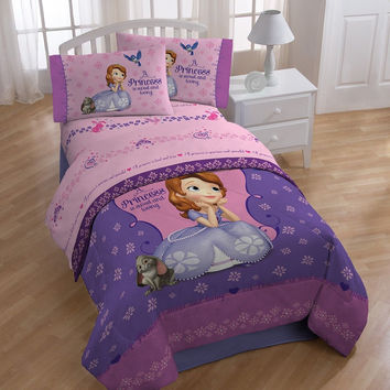 "Disney Sofia the First ""Graceful"" Soft Comforter and Sheets - Twin"