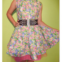 Bunny rabbit dress - Backless - one of a kind - ready to ship - Easter fashion - Skater dress - for Teen girls and Women - Sundress