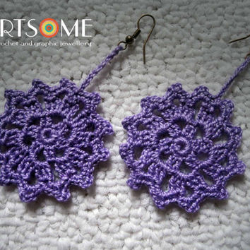 Crochet Lilac Flower-Wheel  Earrings