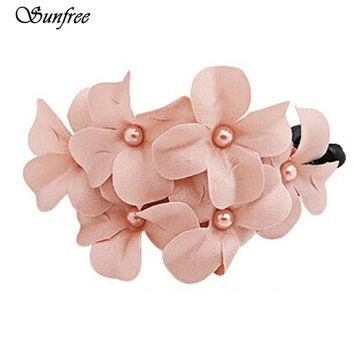 Sunfree 2016 New Hot Sale Chic Women Girl Handmade Flower Banana Barrette Hair Clip Hair Pin Claw Brand New High Quality Nov 11