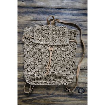 Woven Straw Backpack, Tan