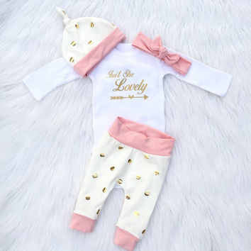 Gold Dot and Blush Newborn Set/ Going Home Outfit/ Coming Home Outfit/ Baby Girl Leggings, Pink and Gold Baby Clothes