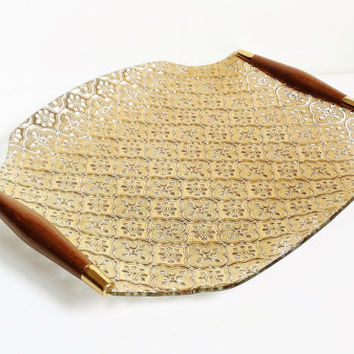 Vintage Serving Tray, Gold With Wood Handles, Georges Briard, Gold Platter, Mid Century, Textured, Fancy, Gold Design, Hostess Tray