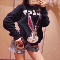 """Gucci"" Fashion Sequin Cartoon Rabbit Long Sleeve Sweater Women Casual Pullover Tops"
