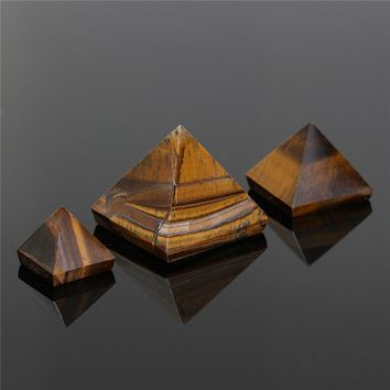Hot Sale 1PC Tiger Eye Quartz Crystal Pyramid Stone Healing Orgone Feng Shui Gemstone for Home Decor Ornaments Gifts 15/25/50mm