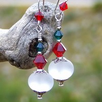Christmas White, Red and Green Earrings, Frosted Lampwork Swarovski Handmade Holiday Jewelry