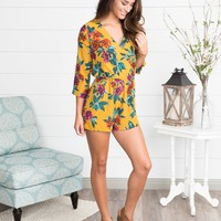Everly Lovestruck Floral Romper - Mustard