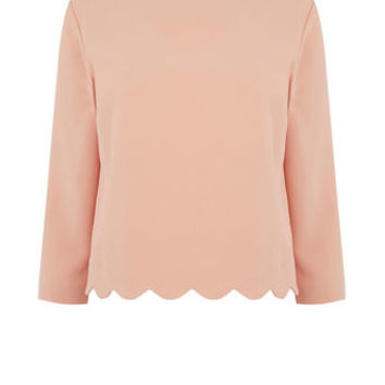 SCALLOP 3/4 SLEEVE TOP