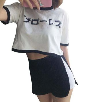 Rok Summer casual crop top suit female short-sleeved letters printed short section T-shirt high waist shorts vadim 2 Piece Set