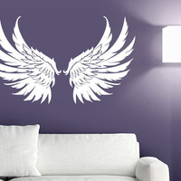 Wall Decal Vinyl Sticker Decals Art Decor Design Big Wings Angel God Guardian Bird Kids Children Nursery Bedroom Living Room (r1154)