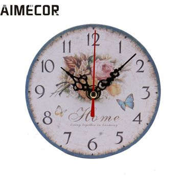 Vintage Style Non-Ticking Silent Antique Wood Wall Clock for Home Kitchen Office Decor