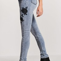 Embroidered Floral High-Rise Skinny Jeans