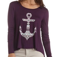 Rhinestone Anchor Graphic Top by Charlotte Russe - Deep Purple