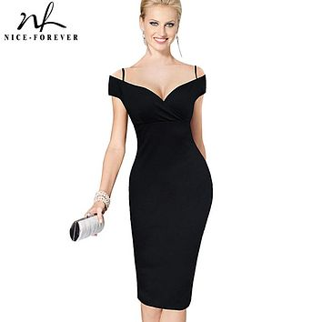 Nice-forever New Elegant Solid Stylish Casual Work Strap Slash Neck Bodycon Knee Midi Women Formal Pencil Dress B309