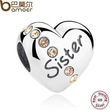 Sister Floating Heart Charm fit Bangles