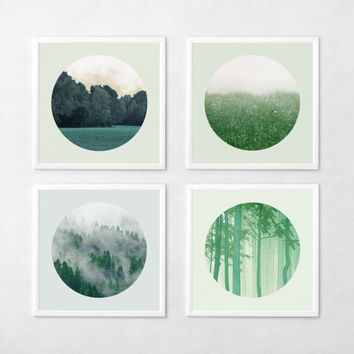 Landscape Photo Set Woodland photography Nature Forest Field Minimal Emerald Green Circular photo