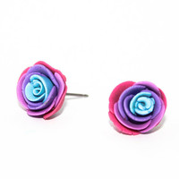 Large Rainbow Polymer Clay Rose Studs