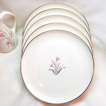 Vintage Silver Floral Small Plates Pink Silver Syracuse China Silver Pink Flower China Syracuse Alpine Dessert Salad Plates NOS China