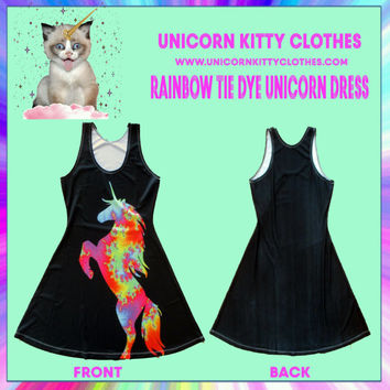Rainbow Tie Dye Unicorn Dress
