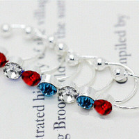 No Piercing Simple Beauty Rhinestone Ear Clips Set (3 Clips-Sapphire, Ruby, and White)