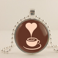 "Heart steam, Coffee cup, brown, 1"" glass and metal Pendant necklace Jewelry."