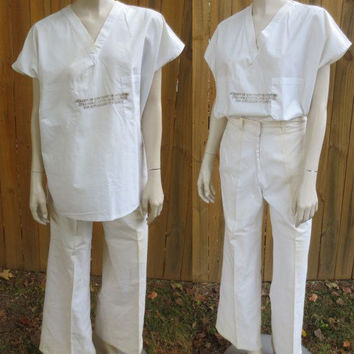 50s Hospital Scrubs / 50s Medical Costume / 50s Surgical Scrubs / 50s Psycho Ward Costume / 50s Hospital Uniform