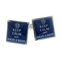 Keep Calm And Have A Beer Cufflinks Drinking Gift