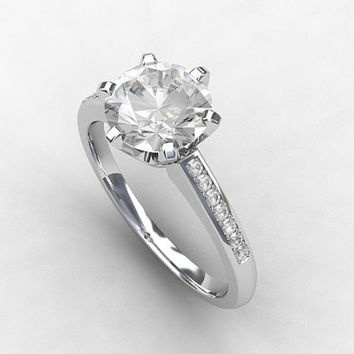 GIA-certificated D-IF Diamond ring, Platinum, solitaire, engagement ring, Diamond engagement, unique, pave, vintage style, Diamond