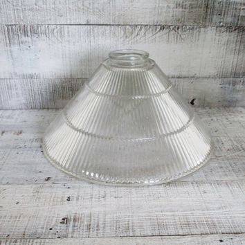 Glass Lampshade Ribbed Glass Ceiling Fixture Shade Art Deco Lamp Shade Holophane Glass Pendant Light Globe Antique Light Fixture Shade