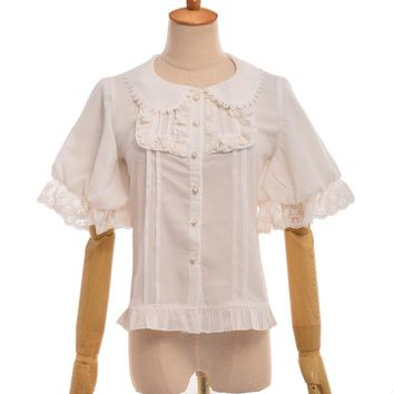 Women Lolita Blouse Summer Chiffon Peter Pan Collar Ruffled Lace Shirt Tops