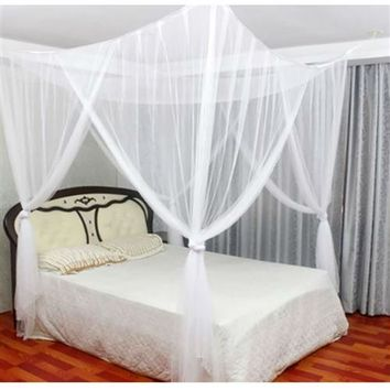 White Mosquito Net Bed Canopy Mesh Netting - for Full Queen King