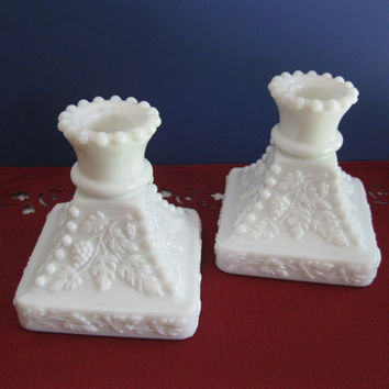 Milk Glass Candle Holders Westmoreland Beaded Grape Design Vintage Wedding