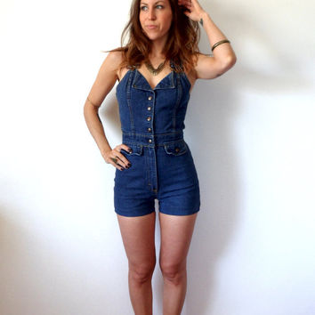 38cb805e2b0d Vintage Denim Overall Shorts Womens from TheVelvetMoon on Etsy