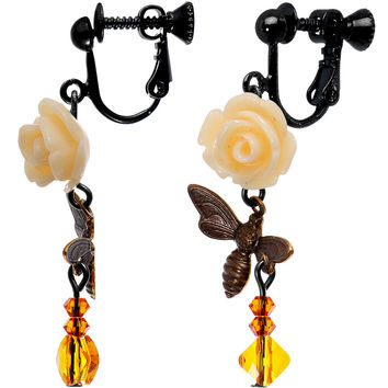 Pollen Bumble Bee Clip On Earrings Created with Swarovski Crystals