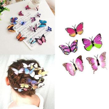 CREY78W 5Pcs Butterfly Flower Wedding Hair Clip Hair Claw Clamp Party Bridal Hair Pins
