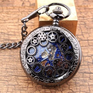 Vintage Steampunk Gears Hollow Bronze Mechanical Pocket Watch Hand Wind Skeleton Necklace Clock Men Womens Gifts